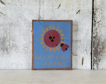 Primitive Country Decor, Lady Bug Decor, Sunflower, Primitive Decor, Country Primitive, Lady Bug, Summer Decor, Painted Lady Bug