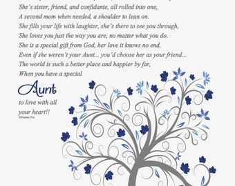 Thank You Gift for Aunt-Aunt Birthday Gift-To My Aunt Poem-Christmas Gift for Aunt-Aunt Personalized Print-Throughout Your Life Poem