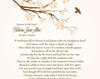 Daughter in Heaven-In Memory of Daughter-Loss of Daughter-Daughter Memorial Print-Sympathy/Condolence Gift-If Raindrops Fall In Heaven Poem
