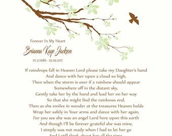 Daughter Memorial Print-Loss of Daughter-In Memory of Daughter-Daughter in Heaven-Sympathy/Condolence Gift-If Raindrops Fall In Heaven Poem