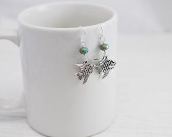 Fish Earrings, Charm Earrings, Czech Glass, Turquoise Earrings, Beach Earrings, Beach Jewelry, Ocean Jewelry, Silver Earrings, Sea Earrings