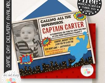 Superhero Birthday Invitation, Super hero Birthday Party, Boy First Birthday, Boy Birthday, Superhero Invite, Superhero Party Invitation
