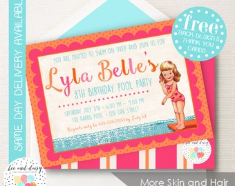 Pool Party Invitation, Pool Party Birthday Invitation, Pool Party Birthday Party, Swimming Party Invitation, Skin & Hair Choices BeeAndDaisy
