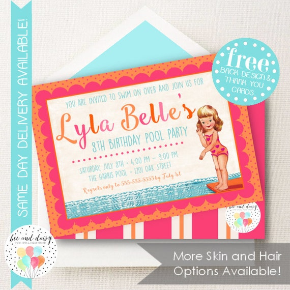 Pool Party Invitation for Girls Birthday Party , Printable Party Invite , Kids First Birthday Invitations , Choose Skin & Hair Color