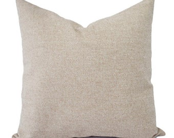 Linen Pillow Cover - Blank Pillow Cover - 18x18 inch Pillow Decorative Pillow Case - 100% Cotton - Zip Closure - Faux Linen Pillow - Custom