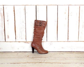 90s vintage high heel brown leather knee high buckle boots/Aldo boots/belted boots/37