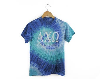 New Alpha Chi Omega Tie Dye Short Sleeve Shirt // Size S-2XL // You Pick Color