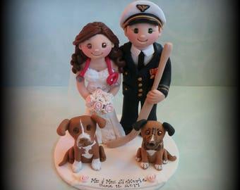 Wedding Cake Topper, Custom Wedding Topper, Bride and Groom, Two Pets, Coast Guard, Hockey, Nurse, Personalized, Polymer Clay, Keepsake
