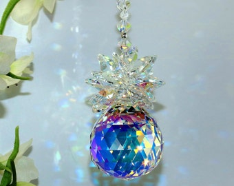 30mm AB Pineapple Suncatcher Car Charm Home Window Ornament Fine Rainbow Maker m/w Swarovski Crystal Octagons + Beads Pearl Place N More