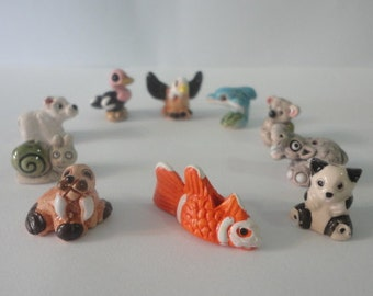 10 Mini Animal Ceramic Bead Clay Figurine Handpainted Collectable New Art Peru Pendant Charm You receive the beads that are in the photos