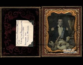 Important 1/4 Daguerreotype of Captain Samuel Wilkes Confederate Soldier - KIA at Manassas in Civil War + Wife & Child