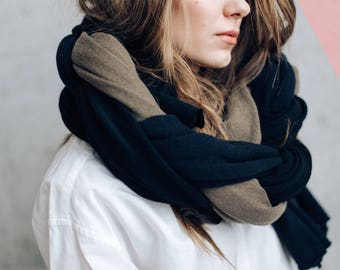 Black/Brown Pure Cashmere Wool Scarf Shawl Wrap. 100% Natural. Wide Enveloping Cozy Knitted Unisex Scarf. SALE PRICE. Ready to ship.