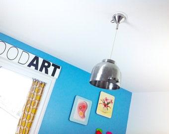 """Luminaire design """"PASSOU'ART"""" en inox brossé pour la cuisine"""