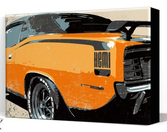 Car Art- Hemi Cuda Muscle Car - Canvas Art Print, Automobile Art, Car Gift, Garage Decor, Man Cave Art, Large Canvas Art, Garage Art