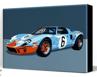 Car Art - Ford GT - Canvas Art Print, Auto Art, Automobile Art, Automotive Decor, Man Cave Art, Car Gift, Art Print, Race Car, Garage Art