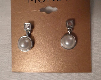 MONET PIERCED EARRINGS / Silver / Pearl / Rhinestone / Designer / Signed / New-Old-Stock / Art Moderne / Modernist / Hip / Chic / Accessory