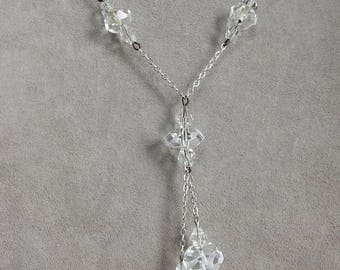 Czech Clear Faceted Crystal Pendant Y Necklace   OAH40