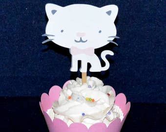 6 Kitty Cat Cupcake Topper SAVE 50% Happy Birthday Aristocats Birthday Party It's A Girl Baby Shower Decoration READY to SHiP CLEARANCE