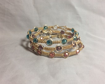 gold cotton candy colors wire wrapped stacking bangle set