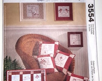 Craft Pattern - Redwork -  McCalls pattern #3554, quilt, pillow, wall hanging, Embroidery designs, Hand Embroidery