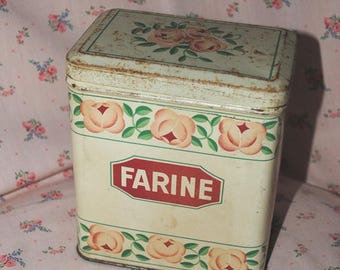 Antique TIN Canister MENIER FARINE with Roses
