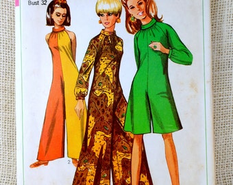 Vintage Simplicity 7359 pattern Jumpsuit 1960s palazzo sewing pantsuit Bust 32 Romper Mod Groovy Mad Men hippie roll collar sleeveless