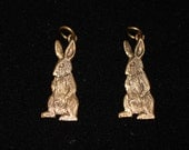 Pair of Vintage Jeep Collins Brass Rabbit Charms / Pendants