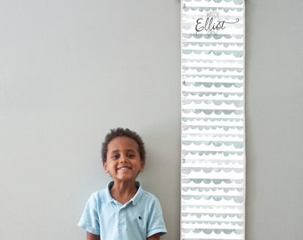 Custom/ Personalized Watch Me Grow canvas growth chart with gray watercolor scallops