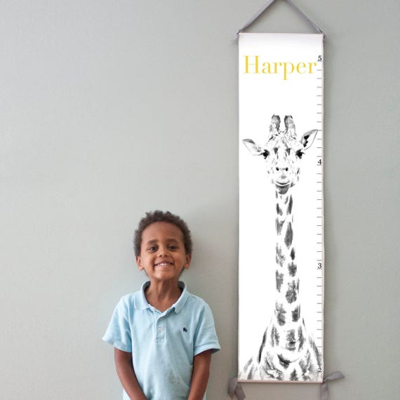 Custom/ Personalized giraffe canvas growth chart