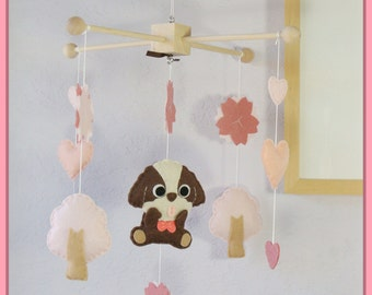 Dog Mobile, Pet Mobile, Puppy Baby Mobile, Shih Tzu Baby Mobile, Pink Cherry Blossom Tree, Custom mobile featuring your pet