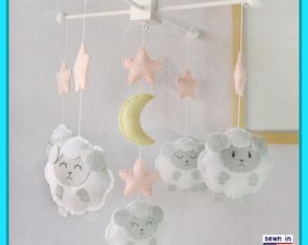 Baby Crib Mobile,Baby Mobile,Baby Girl Mobile,Farm Mobile,Sheep Baby Mobile,Pink and White Sheep Mobile,Match Bedding Mobile
