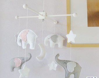 Baby Crib Mobile, Nursery Decor, Elephant Mobile, White Mobile,  Starry Night Mobile, Gray White Pink,Custom Mobile