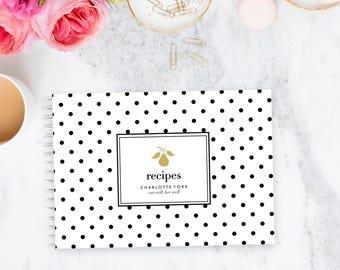 Recipe Book Personalised - Spot | Custom | Stationery | Bridal Shower| Monogram | Cooking | Keepsake | Kitchen | Food | Baking | Meals