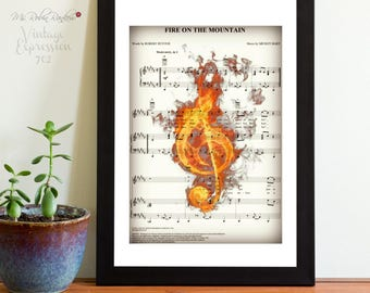 Fire on the Mountain, Grateful Dead, Music Song Sheet, Print