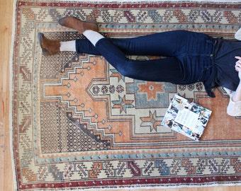 "vintage Turkish rug, rustic geometric rug, faded bohemian area rug, 8'6""x 4'2"""
