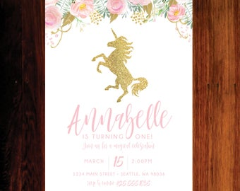 Unicorn Invitation, Magical celebration, Unicorn Birthday Invitation - Set of 15