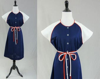 70s Patriotic Dress - Red White Blue - 4th of July -  Short Sleeves - Flutterbye - Vintage 1970s - L XL