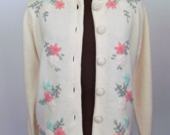 Vintage 60's Sweater Cardigan Jumper Cream Lambswool and Angora with Pastel Embroidered Flowers Size Small / S