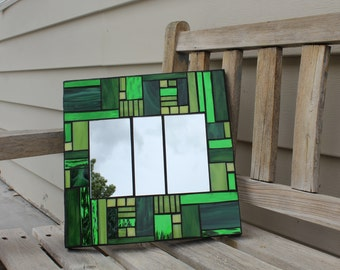 Mirror, mosaic mirror, stained glass mosaic mirror, art glass mosaic mirror, green mosaic mirror, green glass mosaic mirror