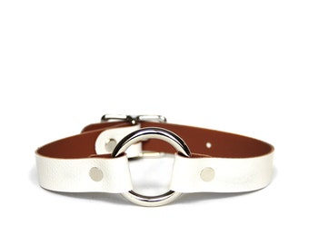 O-Ring Choker -- Arctic White Leather