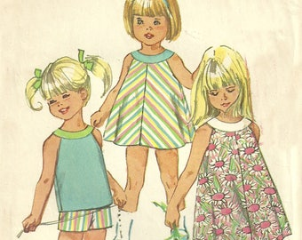 Girl's Dress Top and Shorts Pattern Size 2 Simplicity 7043