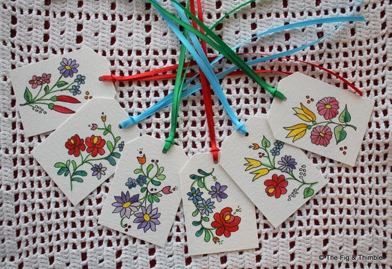 Hungarian Flowers Easter Tags - Handpainted Assorted Set of Six