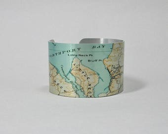 Northport Long Island New York Map Cuff Bracelet Unique Gift for Men or Women for Men or Women