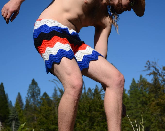 Crochet Shorts Red White Blue ZigZags