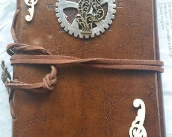 Steampunk cat Journal,steampunk journal,cruel-free journal, refillable journal,Drawing book,Writing book,steampunk diary,fathers day