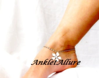 Flower Anklet Beach Ankle Bracelet Flower Body Jewelry White Cruise Foot Jewelry Resort Jewelry