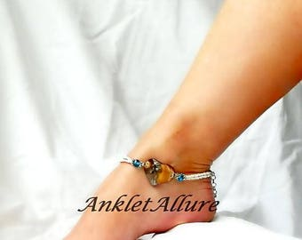 Beach Anklet Love Heart Anklet Shell Jewelry Double Ankle Bracelet Body Jewelry Foot Jewelry
