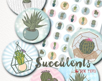 1 inch bottle caps circles Succulents Digital Collage Sheet for jewelry, tags, embelishments, magnets, cards, bottlecaps. Cactus florals.