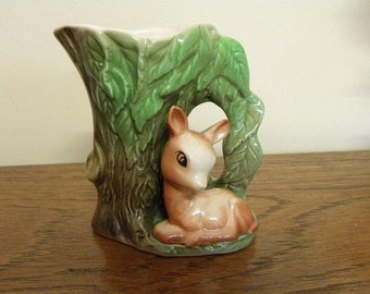 Vintage Fauna Vase - Small size Hornsea Type Jug - Eastgate Pottery in England - Tree Vase with Fawn