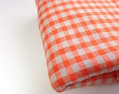 Orange Plaid Vintage Fabric, Woven Sewing Material, 1 Yd Mystery Fabric